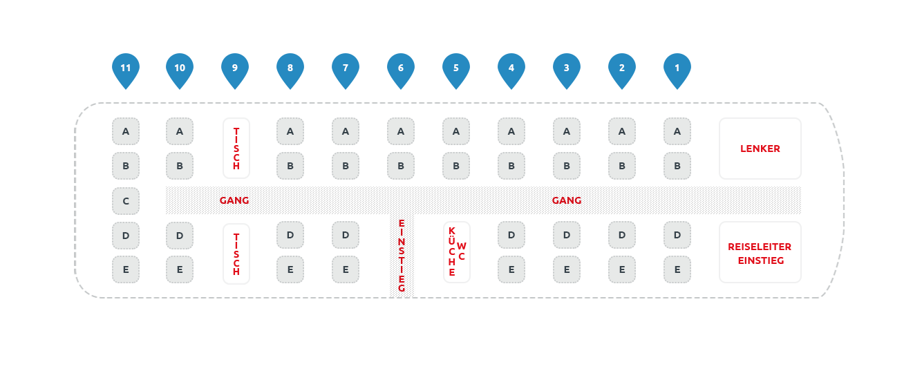 Seating plan President bus 38-Seater